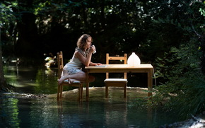 girl, water, table, flood, situation