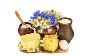 циновка, блюдца, цветы, ромашки, кувшины, горшочек, сыр, масло, яйцо, молоко, творог, букет, аппетитно