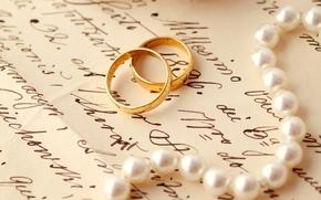 Anneau, Engagement, lettre, perle, mariage