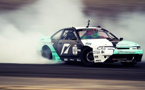 car, wallpaper, Drift, Nissan, Sylvia, skid, slip, Formula Drift, Long Beach, nissan