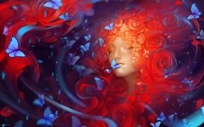 Art, girl, Butterflies, Flowers