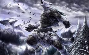 Art, animal, Fantasy, Mountains, snow, Winter, Birds, forest, howl, fur