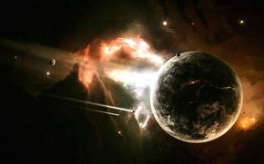 planet, nebula, Shuttles
