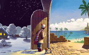 арт, стена, дверь, девочка, кошка, ночь, день, луна, зима, лето, снег, дом, огни, деревья, пальмы, море, берег, песок, шапка, шарф, кот, звезды, облака