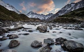 Новая Зеландия, река, горы, камни