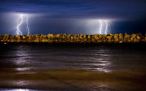 nature, sea, Gulls, night, Lightning, sky