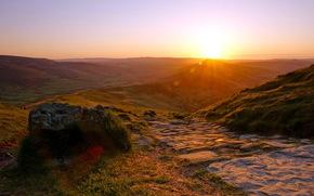 tramonto, Montagne, natura, paesaggio