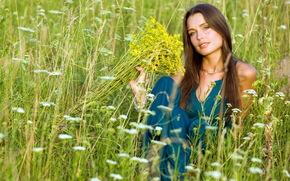 девушка, лето, поле, цветы