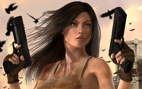 girl, Guns, city, Birds, view