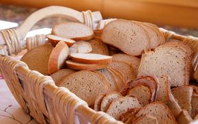 корзина, хлеб, ломтики
