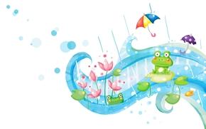 Carta da parati per bambini, Pinstripes, pioggia, Ombrelli, rana, fiori di loto, fantasia