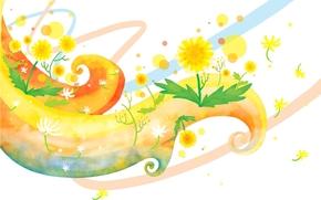 Children's wallpaper, whorls, Flowers