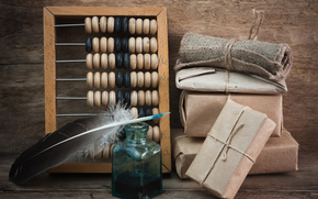 abacus, inkwell, pen, parcel
