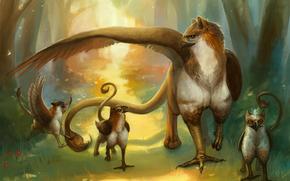 Arte, Griffins, famiglia, creature