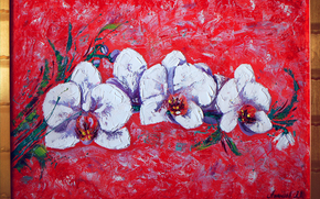 traditional art, paintings, abstract, dimadiz, my oil, lilium and salmon