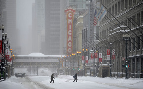 usa, illinois, chicago, winter, city, Чикаго, зима, город