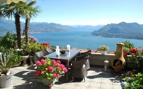 озеро, горы, терраса, вид, настроение, наслаждение, отдых, Италия, Стреза, Маджоре
