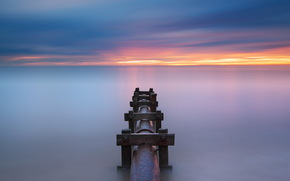 sea, sunset, pipe