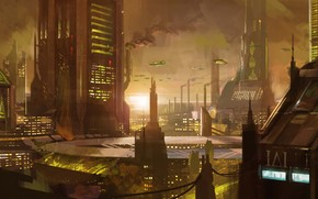 Art, city, future, fantasy, sunset, transport, smoke, Skyscrapers, building, Pipe