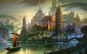 艺术, 亚洲, 海, 河, 城市, 船, 旗鱼, 桥, 建筑, 山, 岩石, 瀑布, 泊位, 码头, 港口, 塔