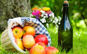 erba, cestino, tovagliolo, vino, mele, picnic, mazzo di fiori, fiori