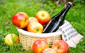 cestino, mele, vino, tovagliolo, erba, picnic