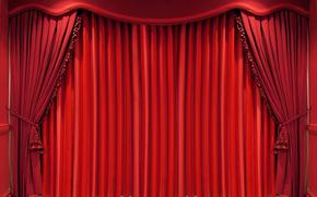занавес, красный, штора, портьера, складки