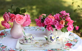 Rose, tray, cup, kettle