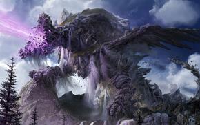 dragon, stone, Mountains, jaws, energy, waterfalls