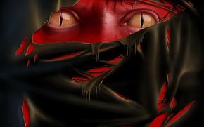 глаза, ткань, красный