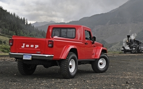 jeep, Concept, pickup, red, back view, paravoz.gory, sky, Jeep