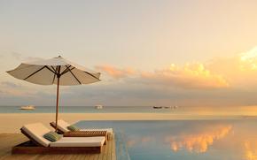 Maldive, paradiso, piscina, salone, oceano, tramonto, romanticismo