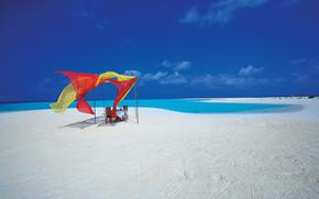 Maldive, paradiso, isola, tavolo, riposo, costa, romanticismo
