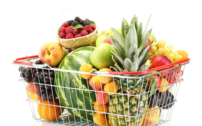 basket, fruit, pineapple, watermelon, apples, apricots, plums, peaches, basket, raspberry