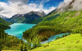 山地, 背景, 自然, obloka