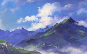 Arte, Montagne, natura, nuvole, verdura, vertici