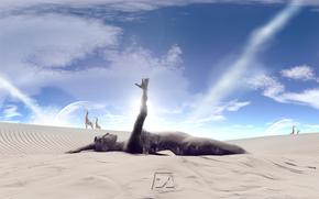 desert, statue, sand, sky, Giraffes, collage, Photomanipulation