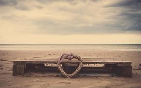 nastoreniya, nature, beach, sand, sea, river, water, heart, heart, weaving, tape, bow, bow, Wallpaper