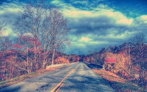 paesaggio, paesaggi, natura, alberi, albero, litsva, fogliame, ramo, strada, traccia, cielo, nuvole, sfondo, carta da parati