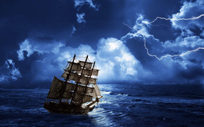 sea, ocean, ship, Mast, sail, storm, sky, clouds, storm, lightning
