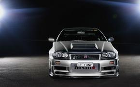 Nissan, Linha do horizonte, prata, reflexes, Nissan