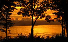 река, берега, золотой закат, природа