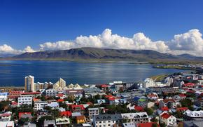 Islanda, mare, Montagne, baia, Reykjavik