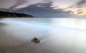 morze, noc, kamienie, krajobraz