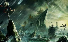 Arte, baia, nave, istioforo, Rocks, forte, Costruito, tempesta, cranio, pericolo, scogliere, pioggia, vento