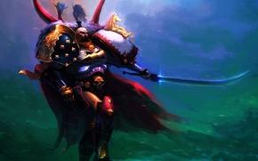 Art, man, armor, Armor, Warrior, sword, stone, skull, horse, White Scars, Primarch, Space Marines, Power Armor