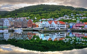 berth, boats, river, reflection, Street, home, Norway, Bergen, city, country