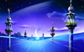 вода, башни, фантазия, луна, синий