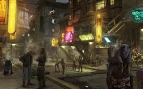 シティ, ストリート, ワイヤー, ラップ, 火花, 機関, 隠す, ヘイズ, ロボット