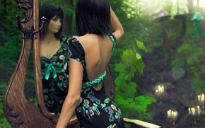разное, девушка, брюнетка, платье, зеленое, зеркало, отражение, лицо, макияж, природа, сказка, фон, обои